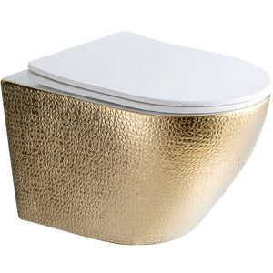 Star & Art | Hangend toilet | Crocostructuur Goud